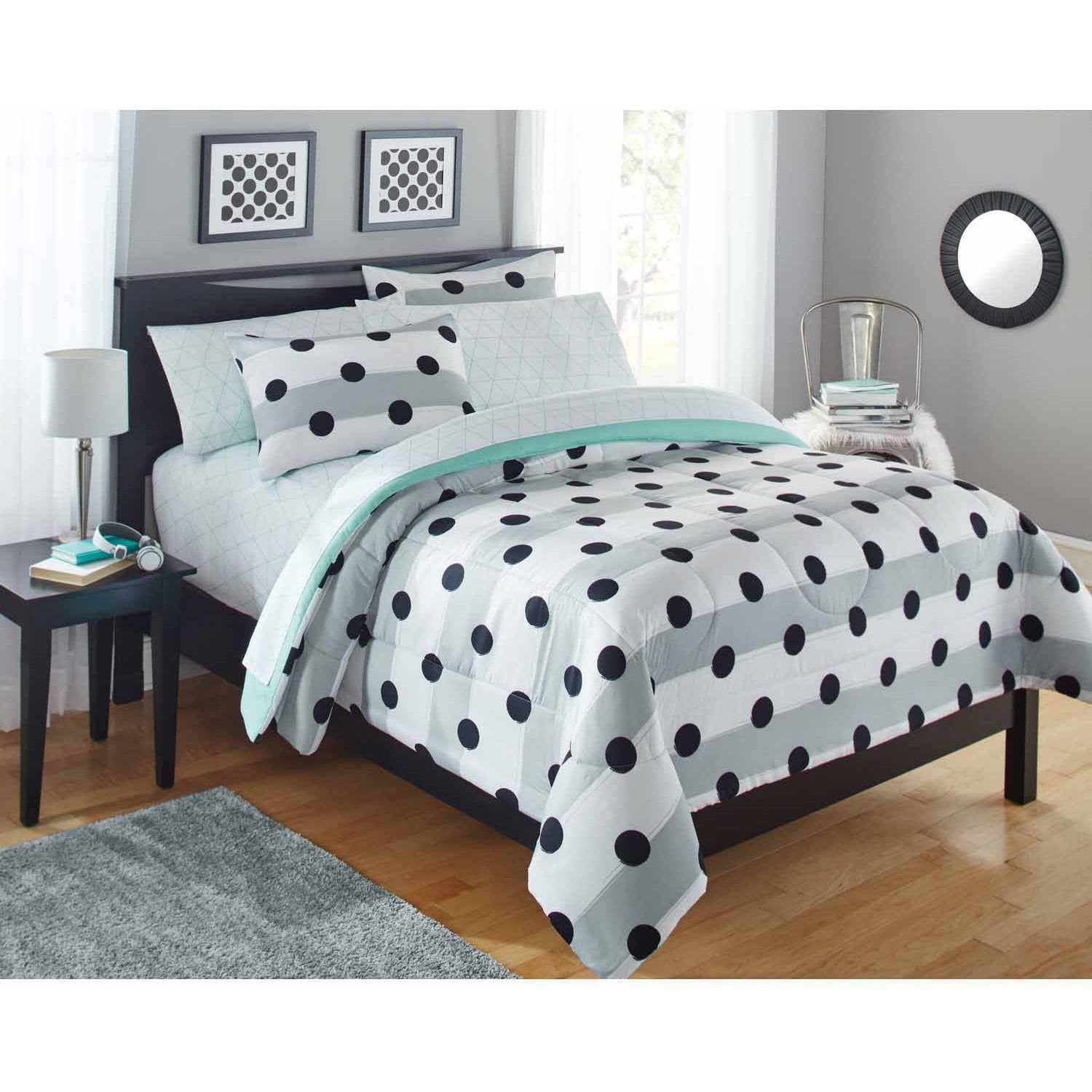 Bedroom Sets Full Size Mint Black And White Bedroom Ideas Lighting For Small Bedroom Bedroom With Black Accent Wall: Your Zone Grey Stripe Dot Bed In A Bag Bedding Comforter