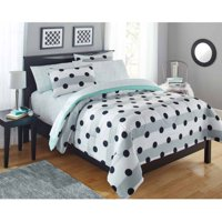 Your Zone Gray Stripe Dot Bed in a Bag Bedding Set w/ Reversible Comforter