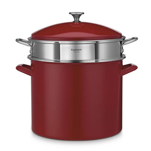 Cuisinart EOS206-33RS Chef's Classic Enamel Steel 20 Qt Stockpot w/Cover Red