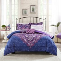 Product Image Mainstays Grace Medallion Purple Bed In A Bag Complete Bedding Set