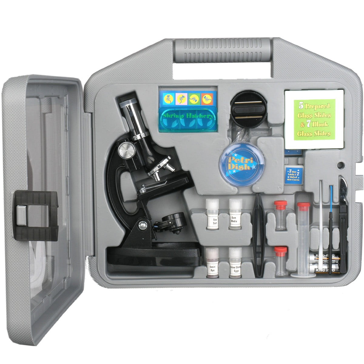 AMSCOPE-KIDS 120X-240X-300X-480X-600X-1200X Metal Arm Kids Compound Biological Microscope Kit by United Scope