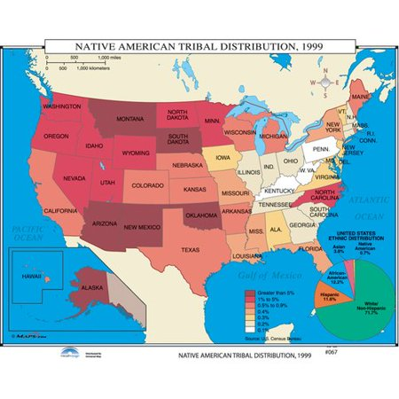 Universal Map U S  History Wall Maps   Native American Tribal Distribution