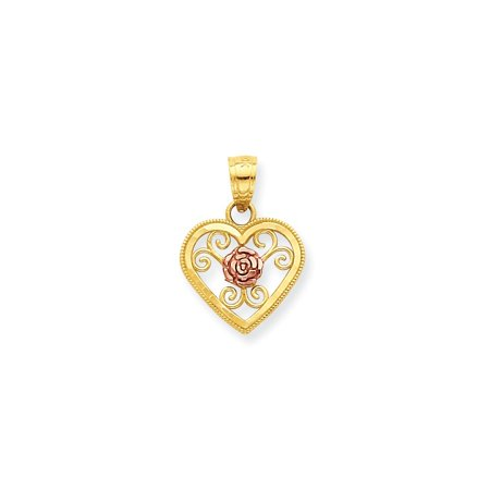 10k Two-Tone Gold Small Heart Charm - .6 (Gold Small Heart Charm)