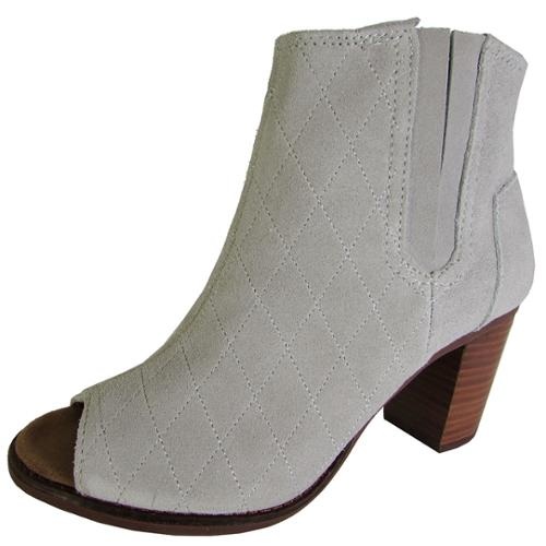 Toms Womens Majorca Peep Toe Boot Shoes, High Rise Grey Suede Quilted, US 7