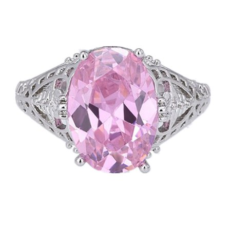DYMADE Luxury Silver Plated Oval Shaped Cubic Zirconia Crystal Ring Big Stone Ring Engagement Wedding Ring](Purple On Mood Ring)