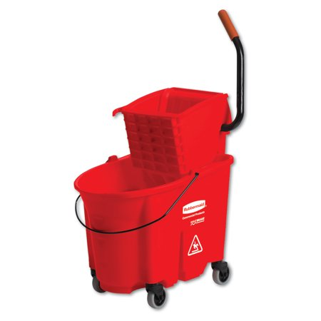 Rubbermaid Commercial WaveBrake 2.0 Bucket/Wringer Combos, Side-Press, 35 qt, Plastic, Red -RCPFG758888RED
