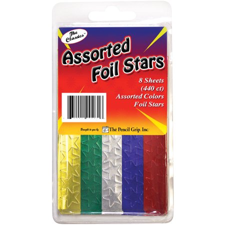 Foil Star Stickers 440/Pkg-Assorted - Star Stickers