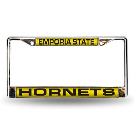 Emporia State Hornets Chrome Metal Laser Cut License Plate - Diamond Laser License Plate