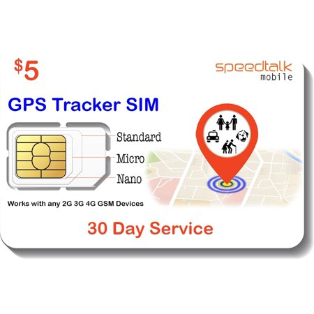 $5 GSM SIM Card for GPS Trackers - Pet Kid Senior Vehicle Tracking Devices - 30 Day Service - USA Canada & Mexico