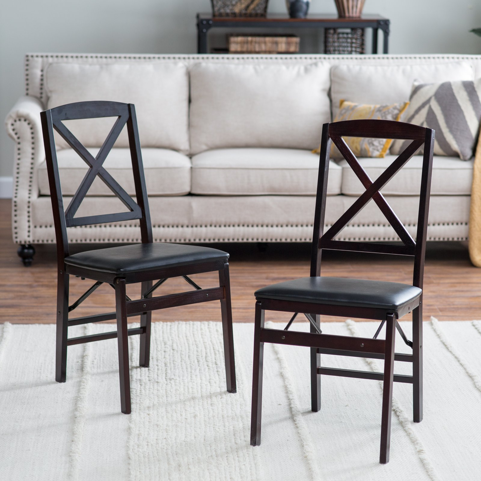 Cosco 5 Piece Wood Folding Dining Set With Cross Back