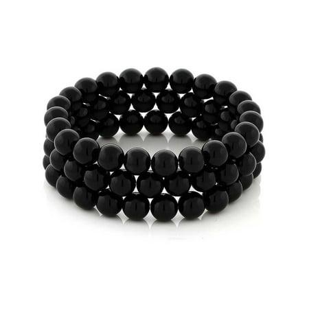 Set of 3 7'' Stunning 8mm Round Black Agate 3 Stretch Bracelets