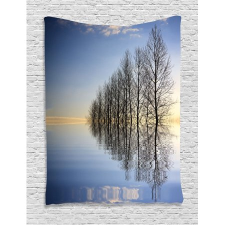 Lake House Decor Wall Hanging Tapestry, Trees On Top Of The Frozen Lake In The Winter Scenic Forces Of Nature Art Print, Bedroom Living Room Dorm Accessories, By Ambesonne (Frozen Decor)