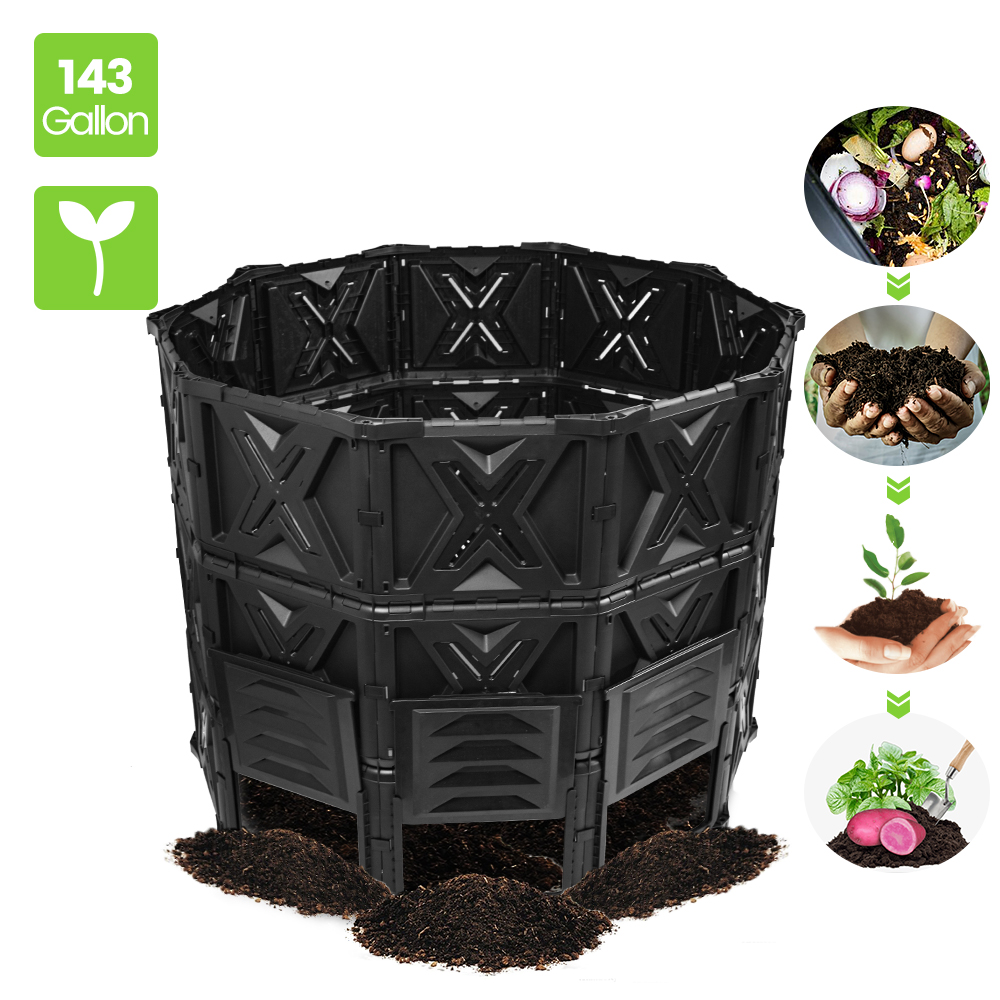 EJWOX Large Compost Bin - 143 Gallon (540 L) Garden ...