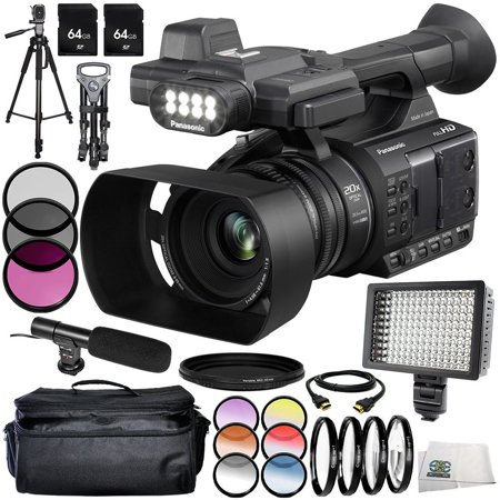 Panasonic AG-AC30 14PC Accessory Bundle - Includes 3 Piece Filter Kit (UV + CPL + FLD) + 6PC Graduated Filter Kit + 64 GB SD Memory Card + ND Filter + Carrying Case + 160 LED Video Light + MORE (Panasonic Nd Filter)