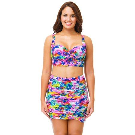 7f0dff21243 Senfloco Women Plus Size Swimwear 2pcs Vintage Bikini Swimsuit Floral Tankini  Bathing Suit with Padded Bra