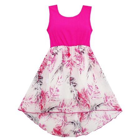 Girls Dress Hi-Lo Maxi Cotton And Chiffon Pink 7