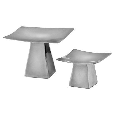 Aluminum Pedestal Candleholders - Set of 2 ()