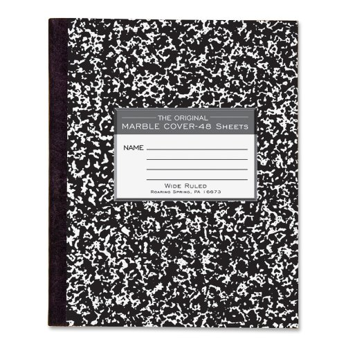 "Roaring Spring Tapebound Composition Notebook - 48 Sheet - Wide Ruled - 7"" X 8.50"" - 1 Each (ROA77333)"