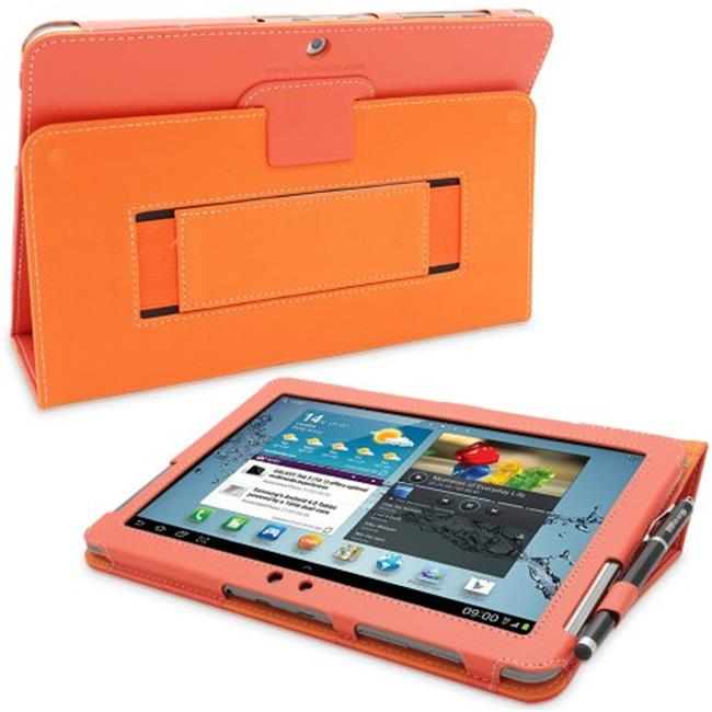Snugg B00CKQ5TXU Galaxy Tab 2 10.1 Case Cover and Flip Stand, Orange Leather