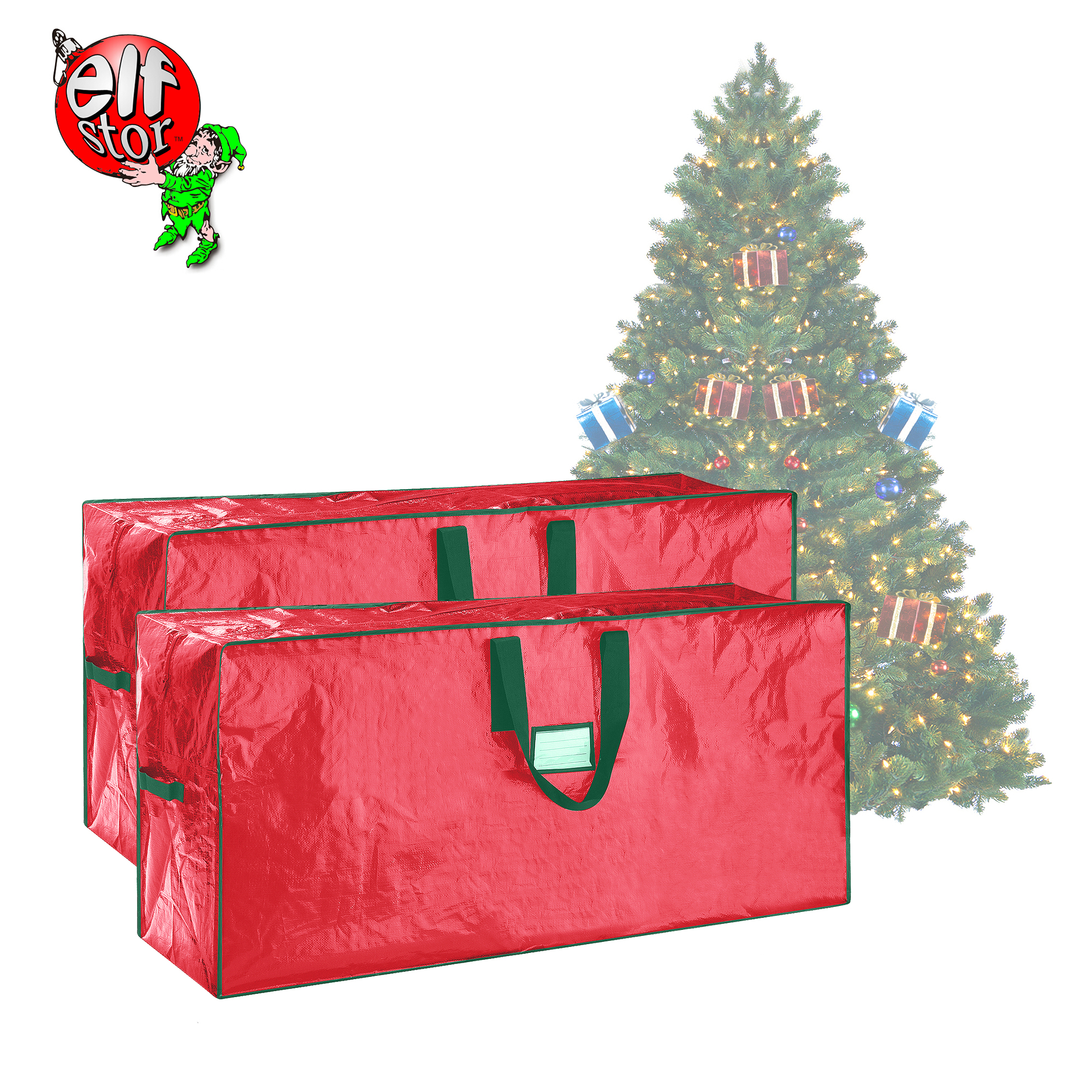 Elf Stor | Christmas Tree Bags | Large For up to 7.5 Ft Trees | 2-Pack | Red