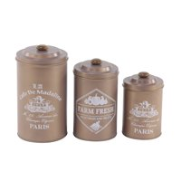 Decmode Farmhouse 7, 9 And 10 Inch Round Brown Tin Canisters With Wooden Lid - Set of 3