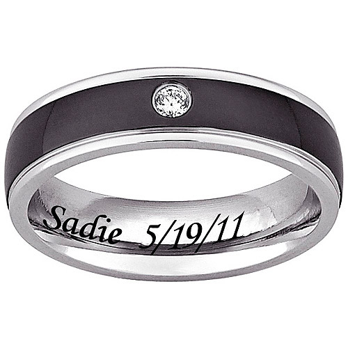personalized black and white stainless steel cz 6mm ring