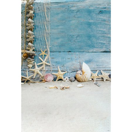 HelloDecor Polyester Fabric Kids Summer Holiday Backdrop for Photography 5x7ft Blue Wood Small Starfish Photo Background Beach for Party Backdrops (Beach Party Backdrop)