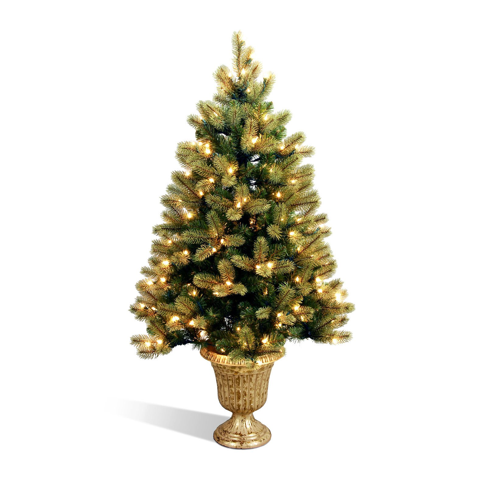 PEJF1-327-40 National Tree 4 Foot Poly Jersey Fraser Fir Entrance Tree with 100 Clear Lights in Decorative Urn
