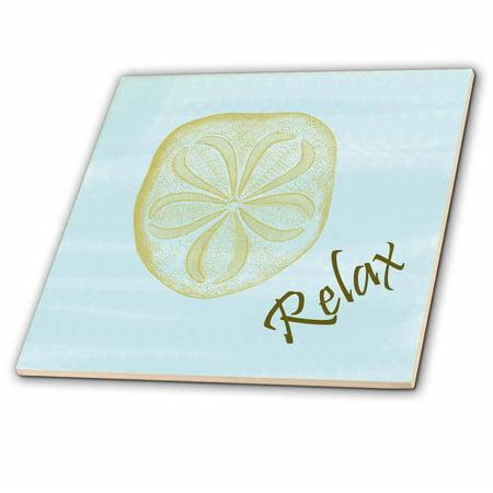 DRose Relax Sand Dollar Beach Themed Art In Calming Blue - Beach themed ceramic tile