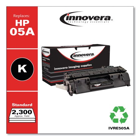 Innovera Remanufactured Black Toner Cartridge, Replacement for HP 05A (CE505A), 2,300 Page-Yield -IVRE505A