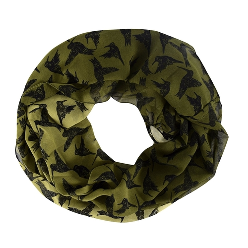 Peach Couture Light Weight Chic Bird Print Infinity Loop Circle Scarf Green