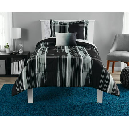Mainstays Modern Plaid Bed in a Bag Bedding Set, Black, -