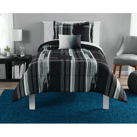 Mainstays Modern Plaid Bed in a Bag Bedding Set, Black, Queen ()