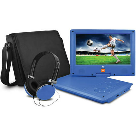 JBL 9″ Portable DVD Player with Matching Headphones and Bag, Blue