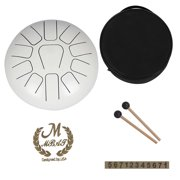 Suzicca 12 Inch Steel Tongue Drum 11-Tone Hand Pan Drum Stainless Steel Percussion Instrument with Drum Mallets Carry Bags Note Sticks