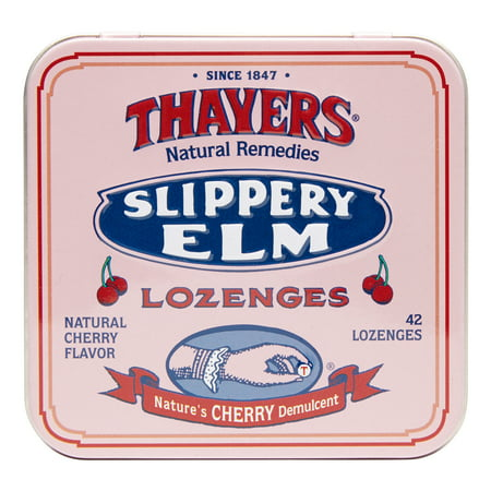 Thayers Slippery Elm Lozenges, Cherry, 42 Ct