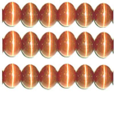 Brown 8mm Cats Eye Beads - 8mm Strand Grade