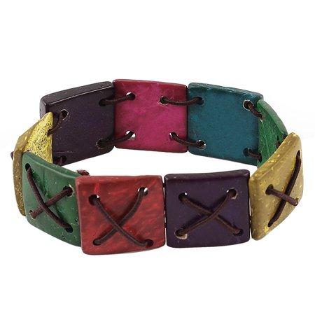 Unique Bargains Ladies Elastic Cord Bamboo Square Linked Wrist Bracelet Bangle Colorful (Tiffany Square Bangle)