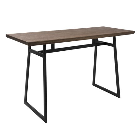 Geo Industrial Counter Table in Black with Brown Wood Top by LumiSource