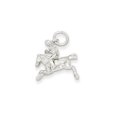 .925 Sterling Silver Moveable Bronco Charm Pendant