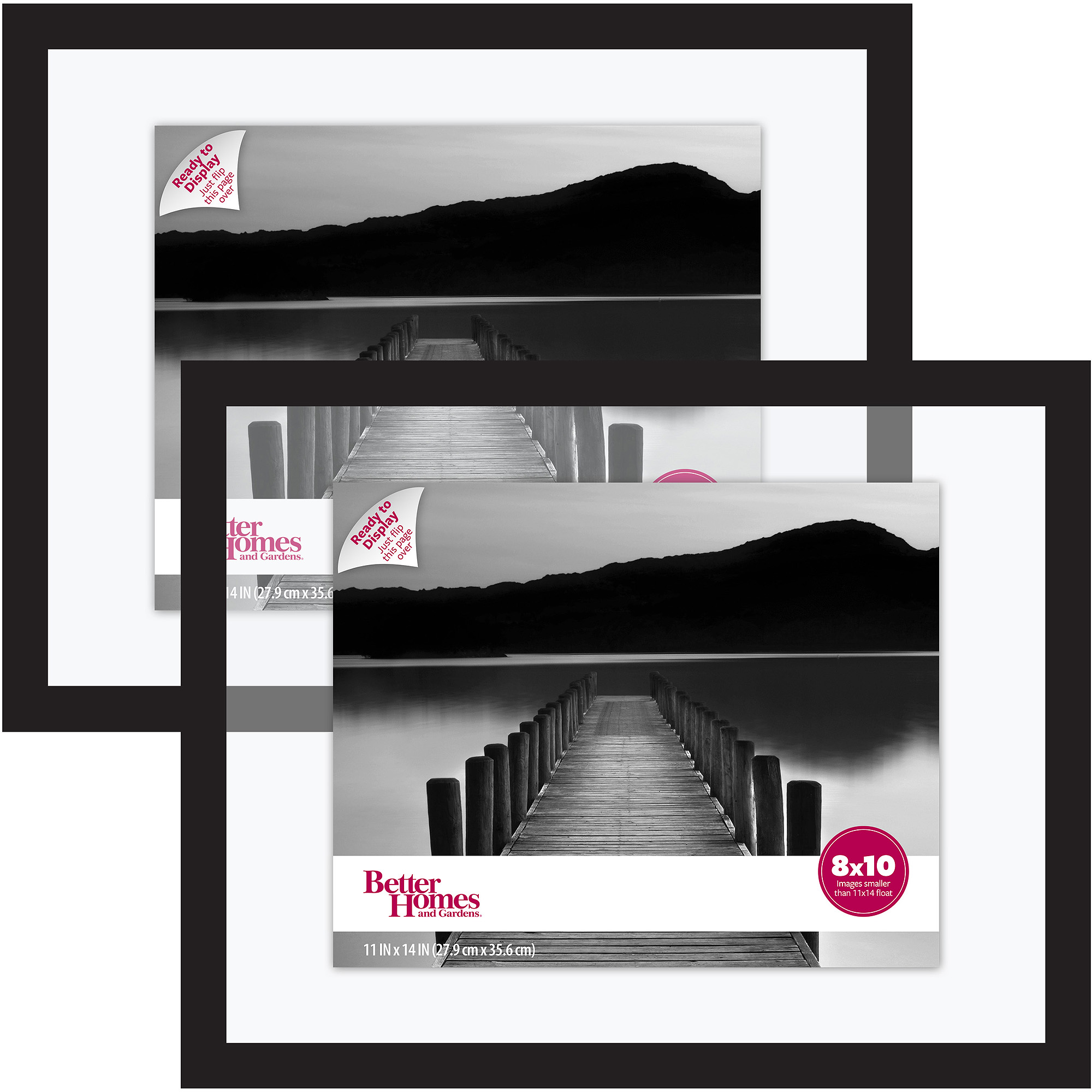 Better Homes and Gardens Float Picture Frame, Black, Set of 2