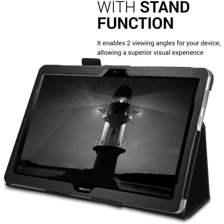 kwmobile Case Compatible with Huawei MediaPad T3 10 - Slim PU Leather Tablet Cover with Stand Feature - Black - image 4 de 5