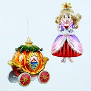 Pumpkin Carriage Golden Haired Fairy Princess Christmas Ornaments Set of 2