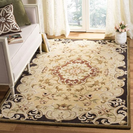 "Safavieh Classic Collection Handmade Wool Area Rug, 7'6"" x 9'6"", Gold/Cola"