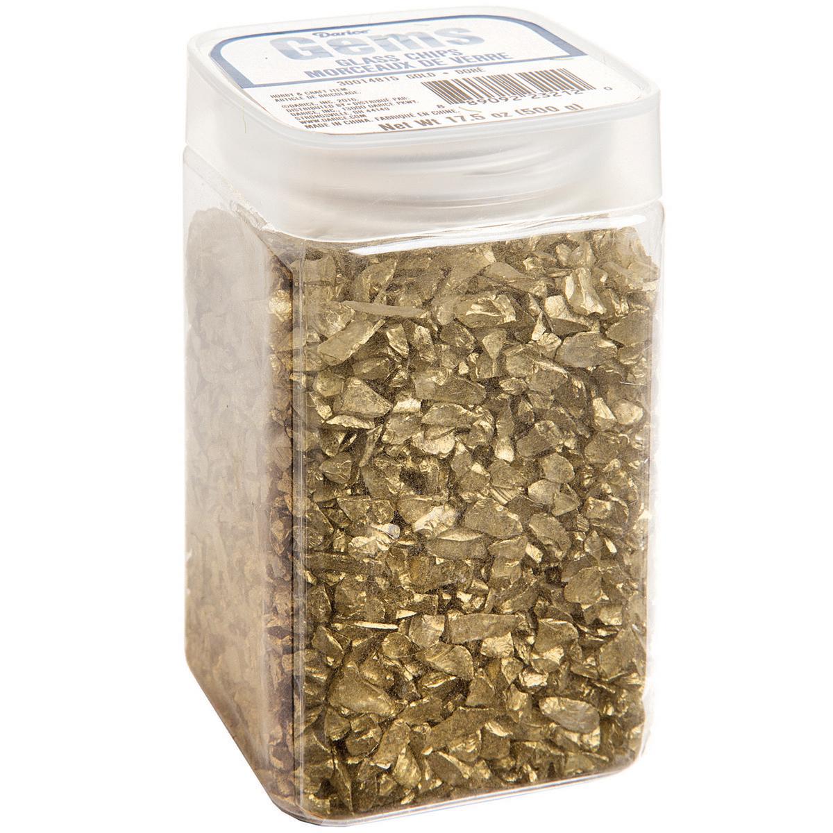 Darice Crushed Glass Vase Filler: Gold Chips, 500 grams