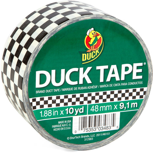 "Duck Brand Duct Tape, 1.88"" x 10 yard, Black and White Checker"