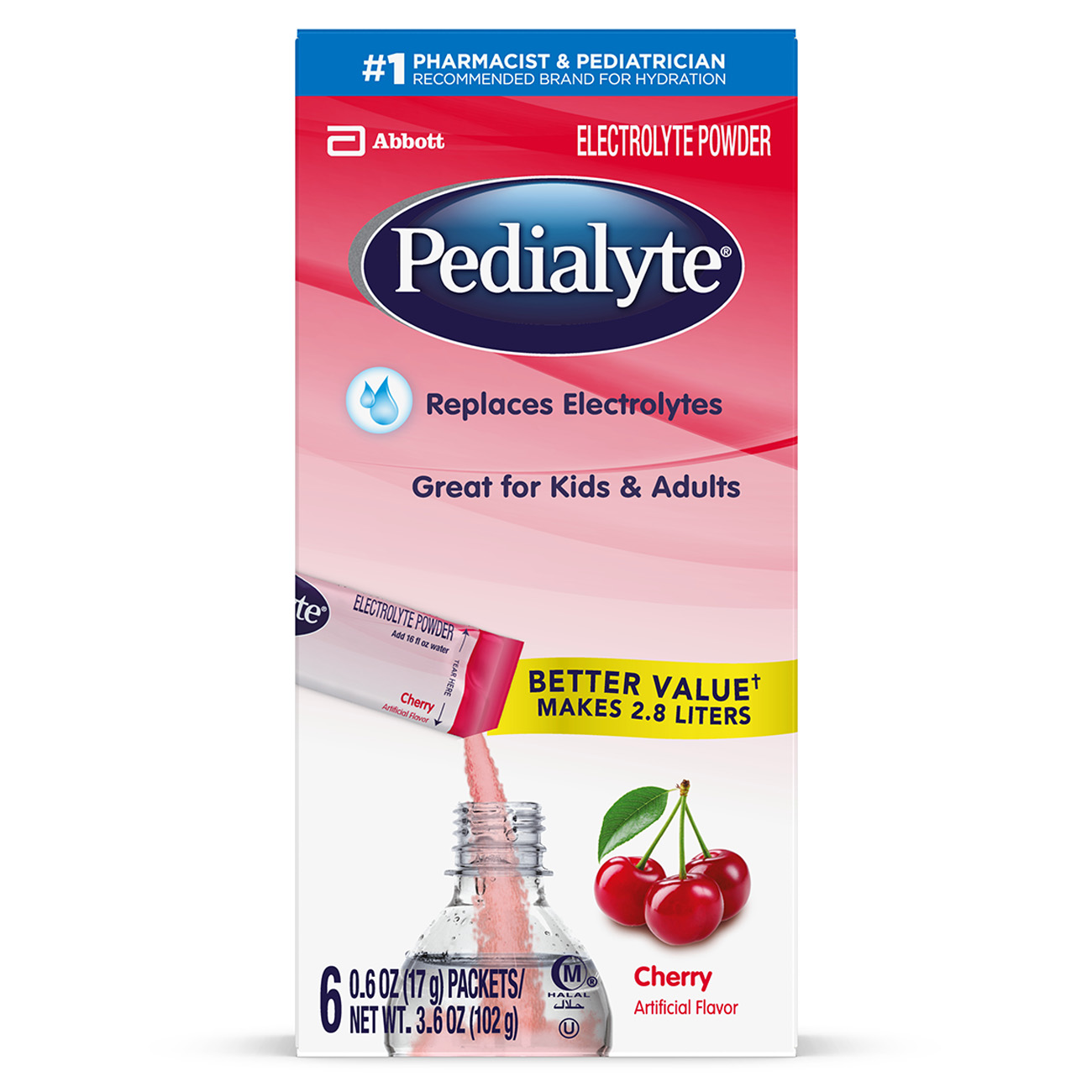 Pedialyte Electrolyte Powder Cherry Electrolyte Hydration Drink 0.6 oz Powder Packs (Pack of 36)