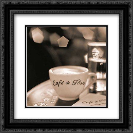 Cafe St. Germain des Pres 2x Matted 20x20 Black Ornate Framed Art Print by Blaustein, Alan - St Germain Carafe
