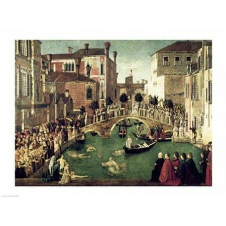 - The Miracle of the Cross on San Lorenzo Bridge Canvas Art - Giovanni Bellini (24 x 18)