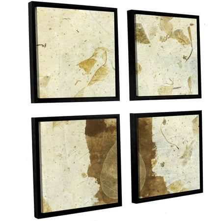 Artwall Elena Ray   Wabi Sabi Bodhi Leaf Collage 1   4 Piece Floater Framed Canvas Square Set